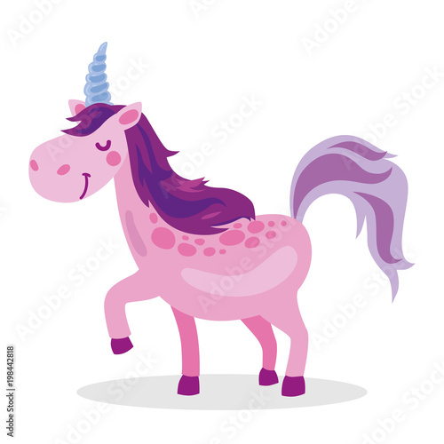 Poster Pony Purple baby unicorn fantasy violet cute cartoon character object icon isolated on white background,vector illustration.