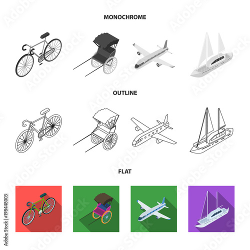 Bicycle, rickshaw, plane, yacht.Transport set collection icons in flat,outline,monochrome style vector symbol stock illustration web.