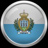 San Marino flag glass button vector illustration