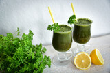 Fresh and healthy green smoothie - 198449892