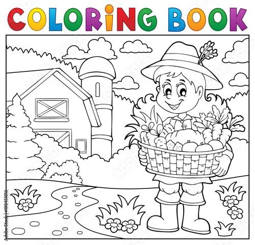 Poster Voor kinderen Coloring book woman farmer theme 2