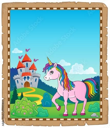 Poster Voor kinderen Happy unicorn topic parchment 1