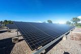 solar panel on sky sunset background. - 198455807