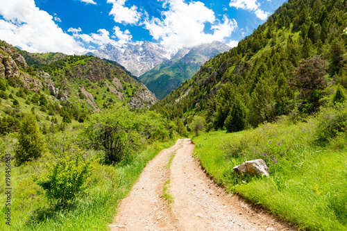 Plexiglas Zomer A dirt road in the Tien Shan mountains in the spring