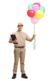 Delivery man with a clipboard and balloons