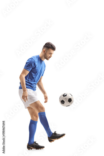 Plexiglas Voetbal Soccer player with a football