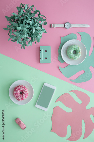 Green and pink aesthetic illustration