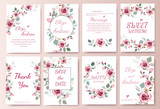 Set of card with flower rose, leaves. Wedding ornament concept. Floral magazine, poster, invite. Vector layout decorative greeting card or invitation design background - 198470032