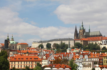 View of Prague lesser town and st Vitus cathedral