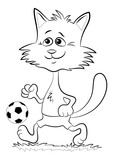 Cartoon Cat, Funny Pet, Smiling and Walking with a Soccer Ball, Black Contour Illustration Isolated on White Background. Vector