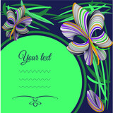 Festive greeting card with orchid flowers, round background for text. For design of congratulations, invitations, advertisements.