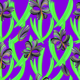 Orchid flowers, seamless pattern with flowers and leaves on lilac fon.