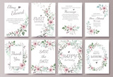 Set of card with flower rose, leaves. Wedding ornament concept. Floral magazine, poster, invite. Vector layout decorative greeting card or invitation design background - 198472874