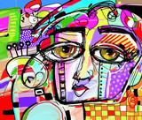 original abstract digital painting of human face