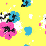 Hawaiian flowers, exotic plants, pattern