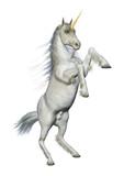 3D Rendering White Unicorn on White