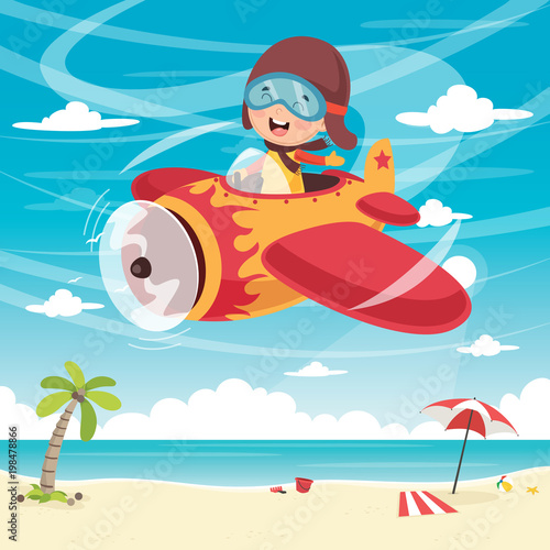Fototapeta Vector Illustration Of Kid Flying Plane