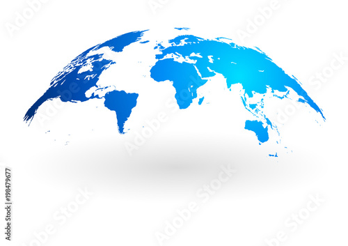 Naklejka blue world map globe isolated on white background