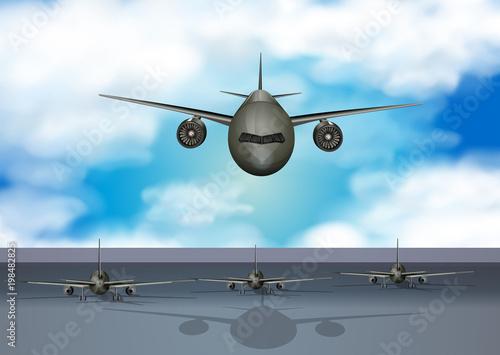 Fotobehang Lavendel Airplanes landing on runway