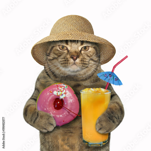 Fotobehang Kat The cat in a straw hat holds a glass of juice and a pink glazed donut. White background.