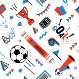Fototapety Soccer/football abstract background in 80s memphis style. Seamless memphis pattern for posers and cards. Vector illustration