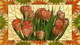 Vector illustration flowers of red tulips. - 198484871