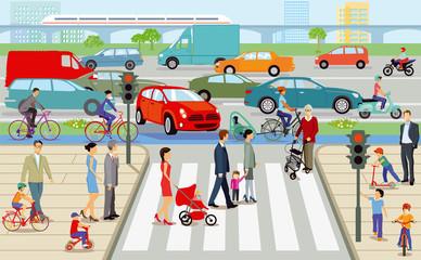Stadt mit  Fußgängerüberweg und Straßenverkehr,  Illustration