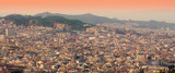 Fototapeta Barcelona cityscape at sunset. panorama view, Spain