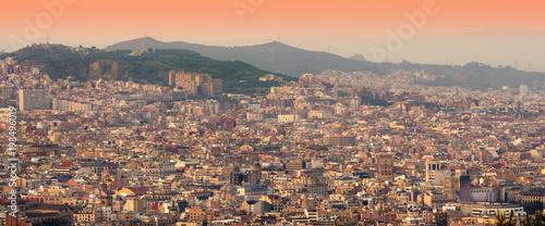 Aluminium Barcelona Barcelona cityscape at sunset. panorama view, Spain