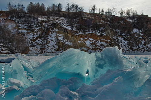 Plexiglas Groen blauw Russia. A pile of ice on lake Baikal.