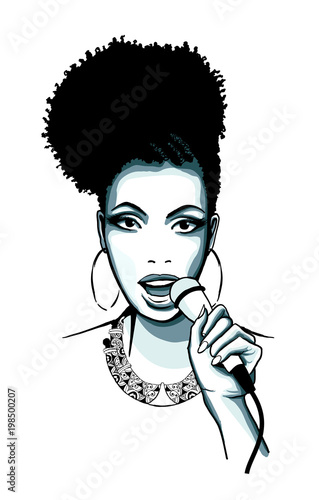 In de dag Art Studio Afro-american jazz singer Jazz