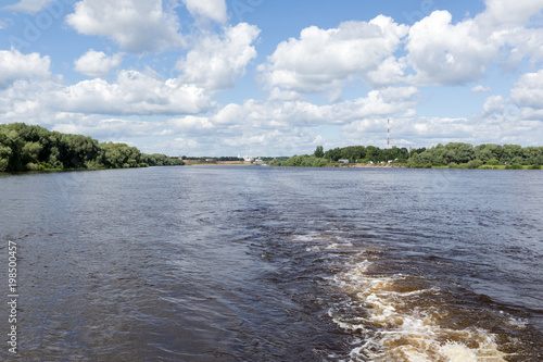 river view from boat, sky with clouds, landscape - 198500457