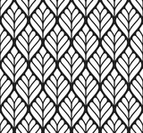 Vector seamless texture. Modern geometric background. Monochrome repeating pattern with abstract leaves - 198503672