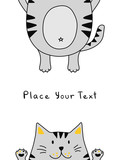 Funny gray cat on a white background with place for your text. Vector Illustration