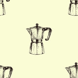 Seamless background with coffee maker. Hand drawn illustration in sketch style