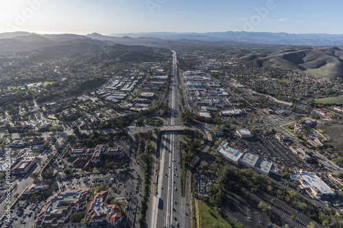 Aerial view of 101 freeway and Westlake Blvd in suburban Thousand Oaks near Los Angeles, California Poster