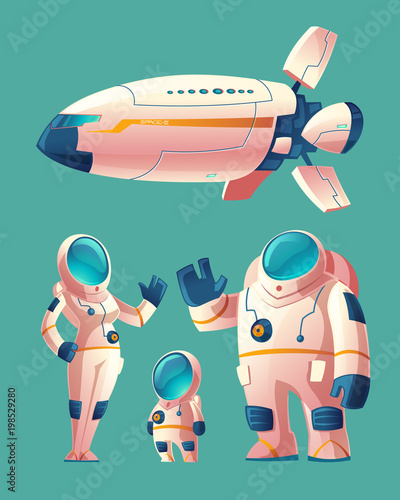 Fototapeta Vector spaceman family, people in spacesuit - woman, man, child with space ship, shuttle. Colonization concept, colony on planet, star. Cosmonauts, astronauts in futuristic clothes