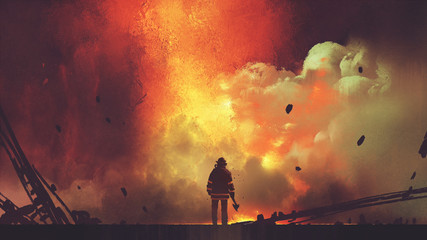 brave firefighter with axe standing in front of frightening explosion, digital art style, illustration painting © grandfailure