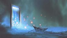 "Постер, картина, фотообои ""fantasy scenery of the abandoned boat on the shore near the mystery door, digital art style, illustration painting"""