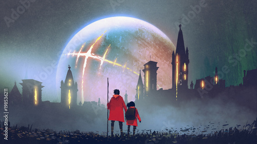 night scenery of man and his daughter looking at mysterious castles against glowing planet, digital art style, illustration painting © grandfailure
