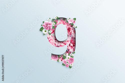 Poster A figure of nine consisting of pink flowers and green leaves on a light background