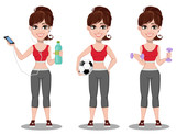 Beautiful woman in sport outfit, set of three poses with water and smartphone, with ball and with dumbbells