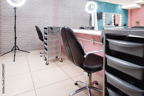 Interior beauty salon, a place for make-up artist, hairdresser.