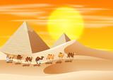 Camels walking across the desert - 198559203