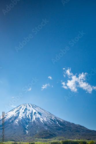 羊蹄山と畑の風景 / 青空バック 北海道ニセコ町