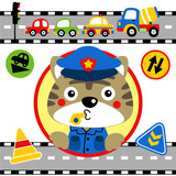 Traffic cop cartoon with vehicles, traffic signs. Eps 10 - 198560247