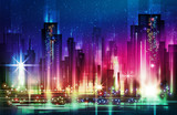 Vector night city illustration with neon glow and vivid colors. - 198563446