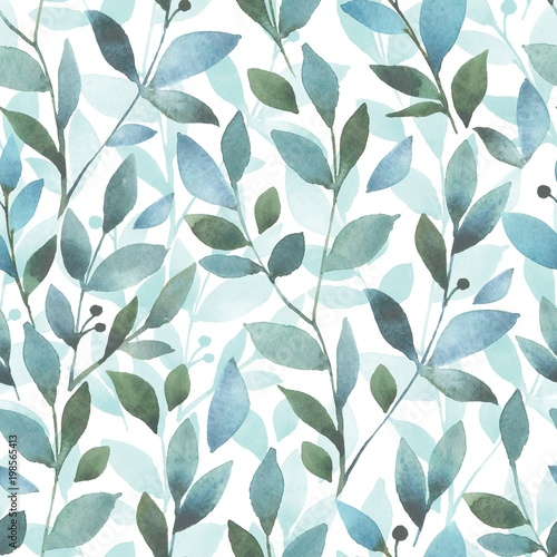 Floral pattern. Seamless background with watercolor branch and leaves - 198565413