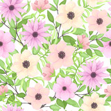 Summer Seamless Pattern with Pink Flowers and Green Leaves - 198566691