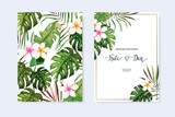 Floral set. Wedding Invitation, save the date, rsvp, invite card. Vector illustration. Celebration template. Watercolor style - 198570079